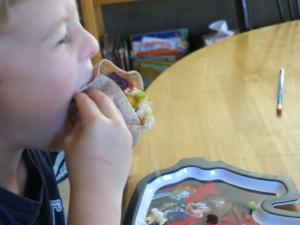 Enjoying tacos