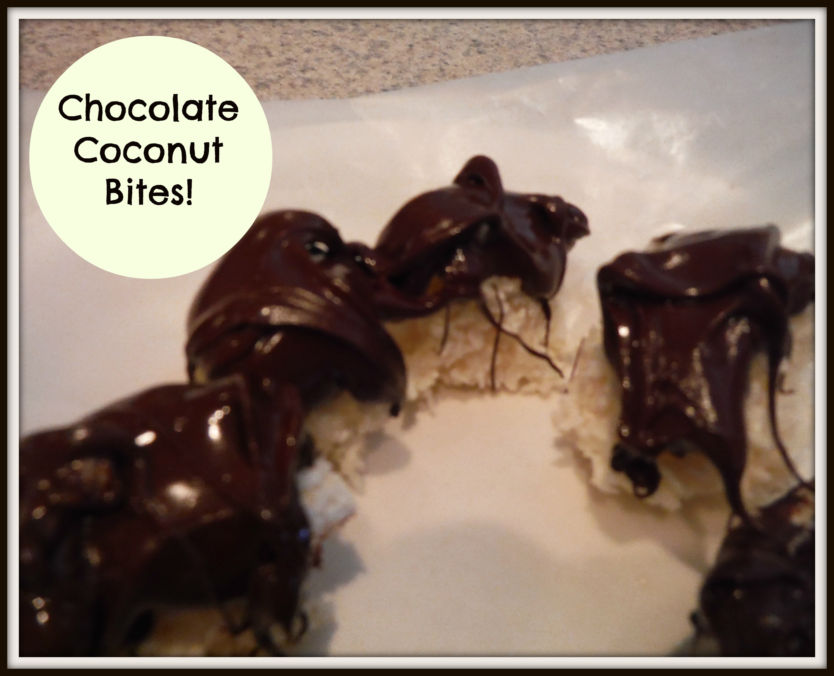 Chocolate Coconut Bites – a healthy alternative to a Mounds bar!
