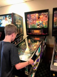 Playing pinball at the Wyndham Garden Hotel in Warsaw, Indiana
