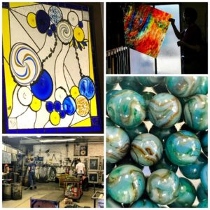 Amazing glass pieces from Kokomo Opalescent Glass Company in Indiana