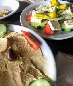 Hummus and Feta Plates at the Parthenon in West Lafayette, Indiana