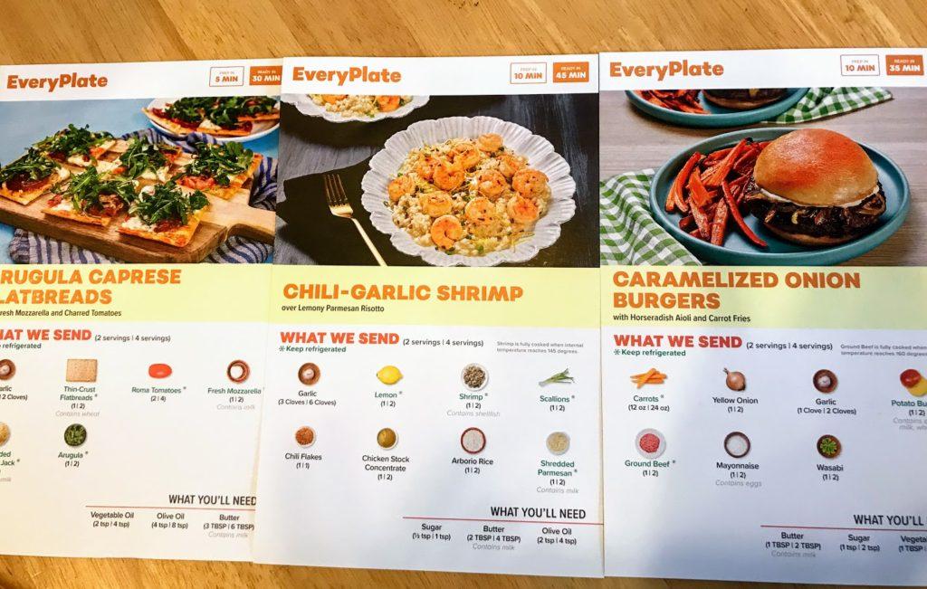 EveryPlate recipe cards