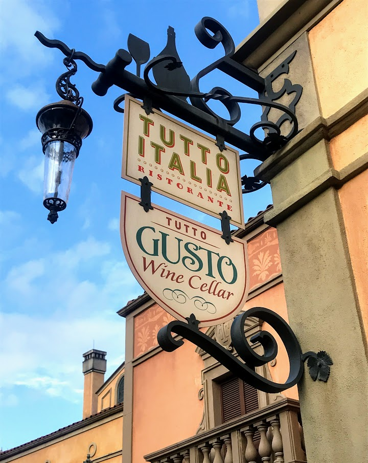 One of the BEST places to eat at a Walt Disney World Park, the Tutto Gusto Wine Cellar at Epcot.