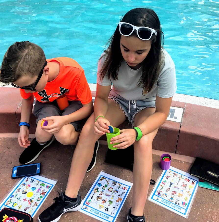 Playing Bingo at the pool at Walt Disney World's Boardwalk.