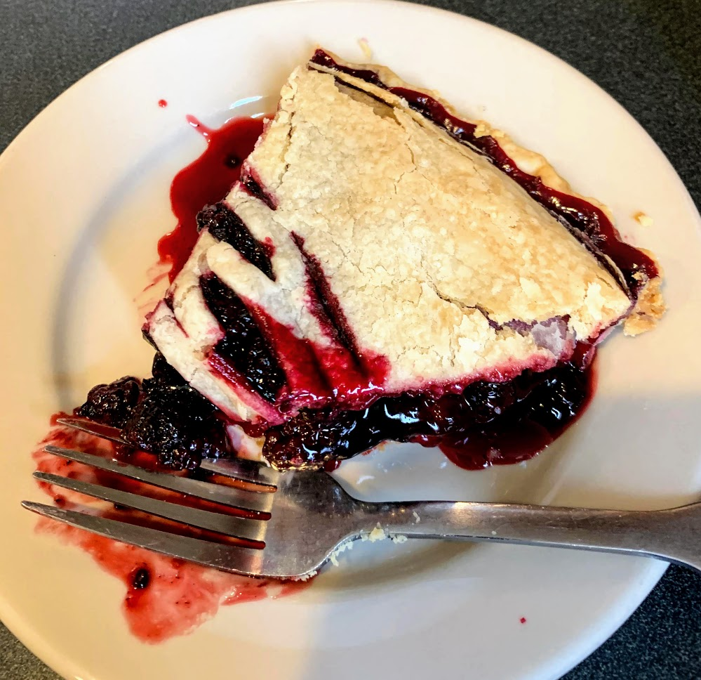 Blackberry pie from Mrs. Wick's Restaurant.