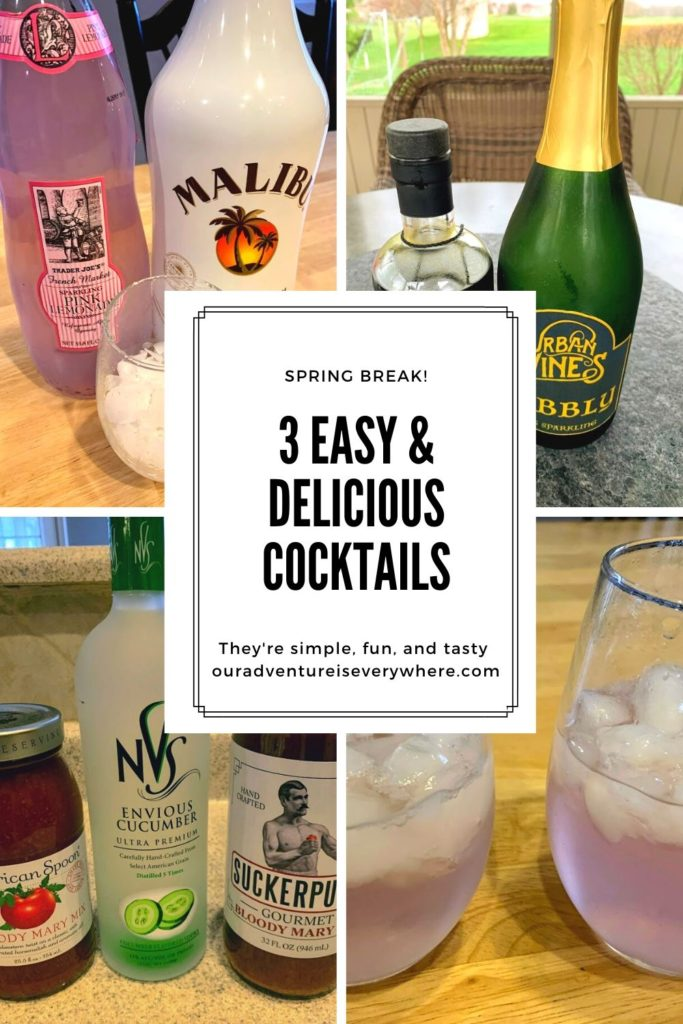 Looking for simple and easy vacation drinks? Fun cocktails perfect for enjoying in the spring and summer? Best beach drinks? Check out these 3 delicious 2-ingredient summery cocktails. #funcocktails #vacationdrinks #ouradventureiseverywhere