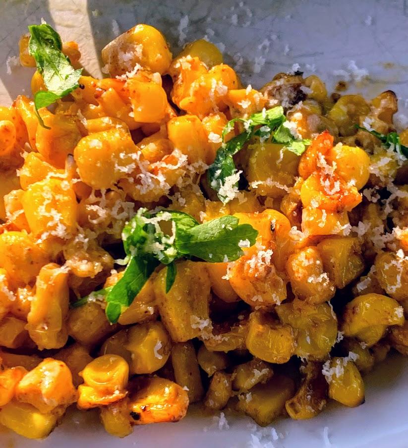 Enjoy Mexican Street corn in the summer by using frozen corn - yum!