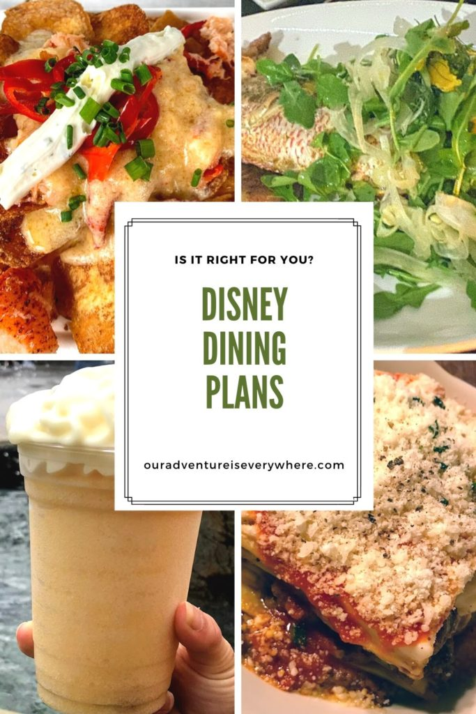 Dining at Disney? Is the Disney Dining Plan right for you? Understand your options and determine which (if any) plan is the best for you. #Disney #ouradventureiseverywhere #Diningatdisney