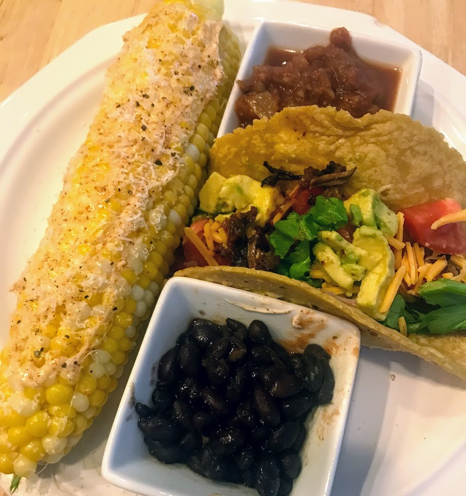 Delicious tacos and Mexican Street Corn for dinner