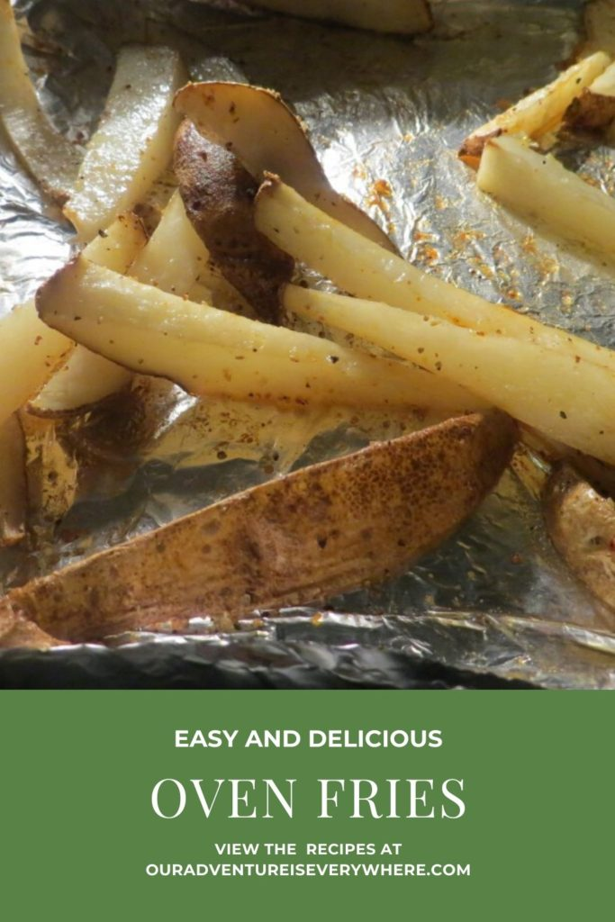 The BEST oven fries! Simple and delicious recipe for the perfect side dish around. #recipes #simplesides #ouradventureiseverywhere