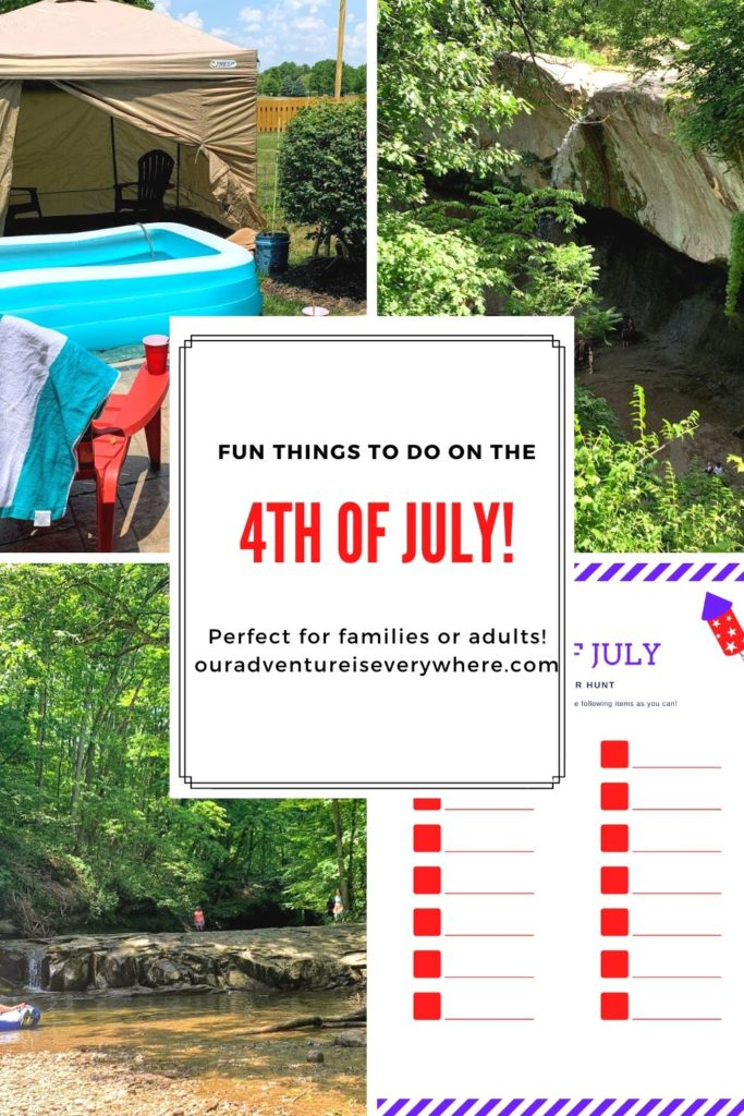 Ready to have some fun this 4th of July? Here are 4 FUN things you can do on the 4th of July. Perfect for families or adults. Free scavenger hunt printable too! #4thofJuly #thingstodo #familyfun