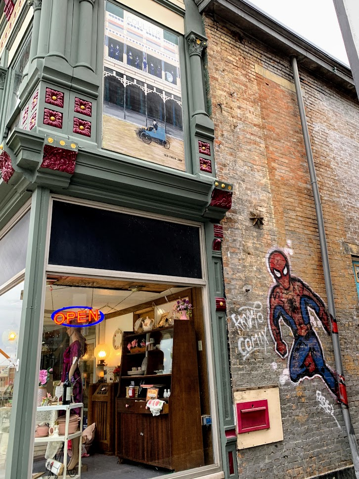 Finding new stores and murals is always fun on day trips.