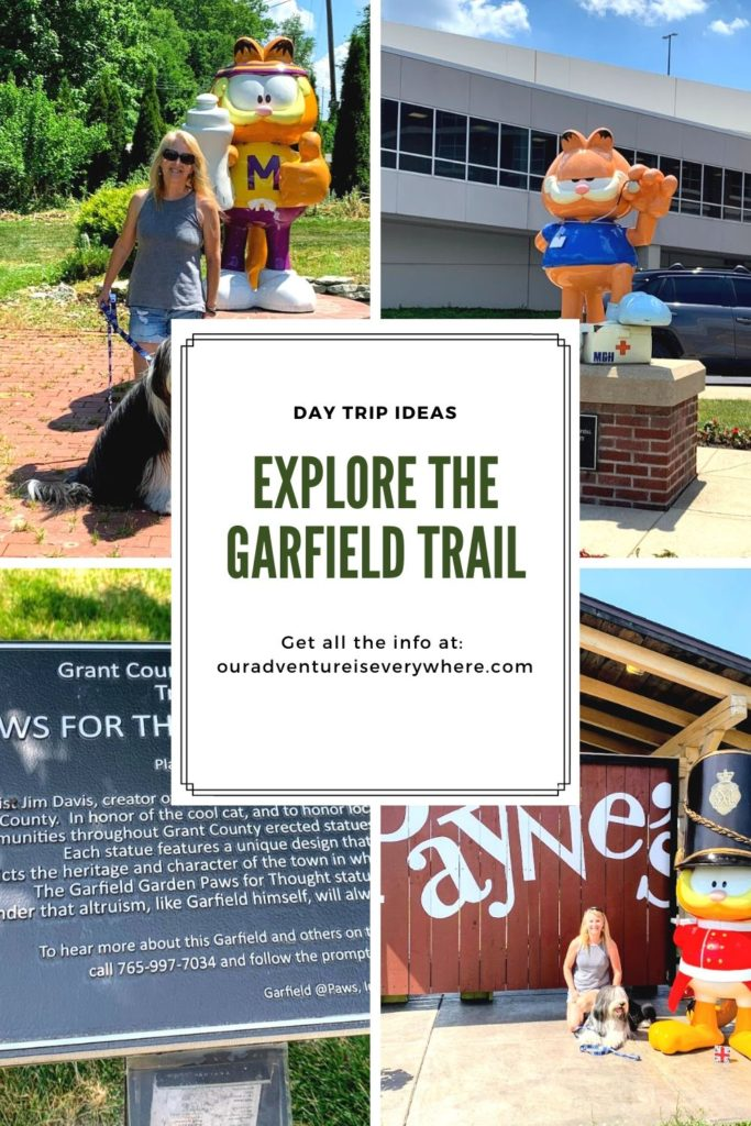 Are you looking for a fun way to spend an afternoon? Take a day trip to Grant County in Indiana to explore the Garfield Trail! With 14 statues to find along with other fun things to discover, it's a lovely way to spend a summer day. #daytrips #garfield #garfieldtrail #ouradventureiseverywhere