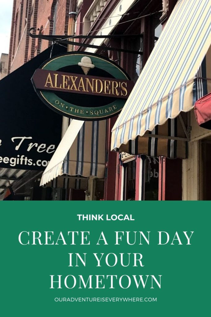 Create a fun day at home by thinking local. There are plenty of things to do for your family if you just look. Find a new restaurant, try a new sport, or just enjoy shopping a small town. #shoplocal #ouradventureiseverywhere #smalltowns