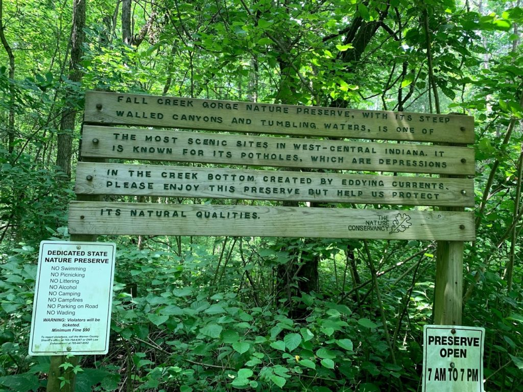Fall Creek Gorge Nature Preserve sign