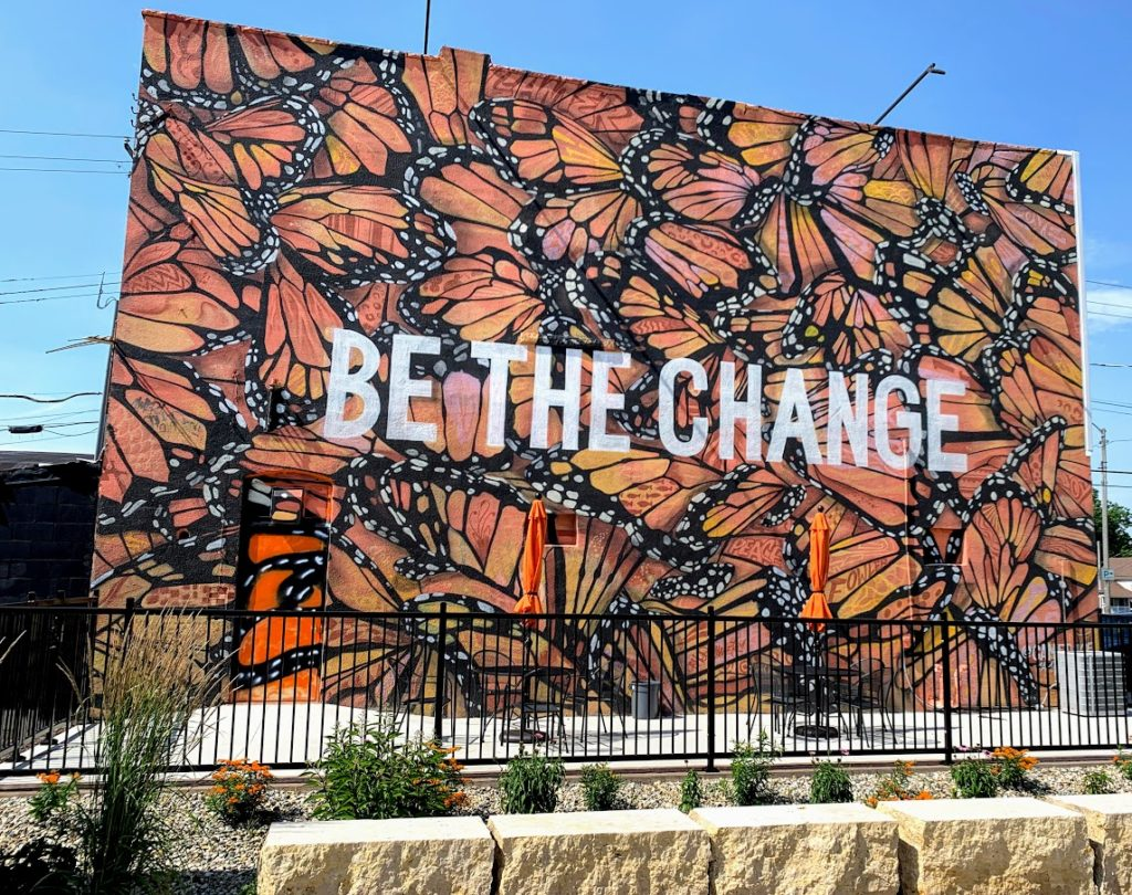 Butterfly mural in Fowler, Indiana