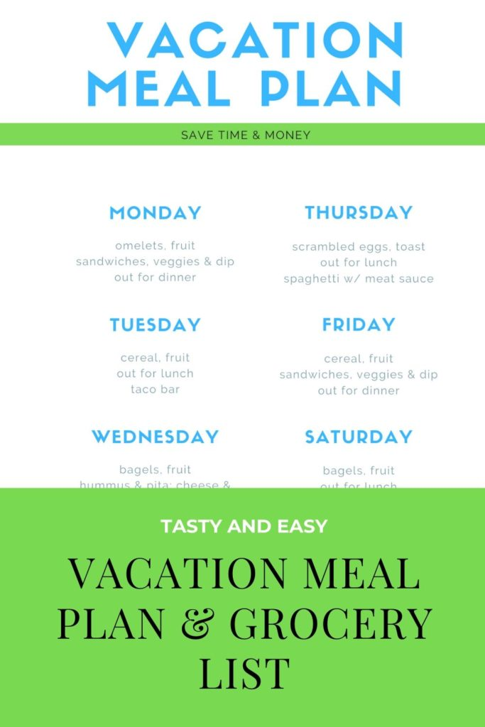 Do you want to save money and time on food when you travel? Or just don't want to eat EVERY single meal at a restaurant? This menu plan printable and vacation grocery shopping list printable will help you enjoy a mix of eating both in your rental and still exploring the local cuisine! Everything you need to be successful is at your fingertips! #vacationmealplans #vacationgrocerylist #vacationplanning