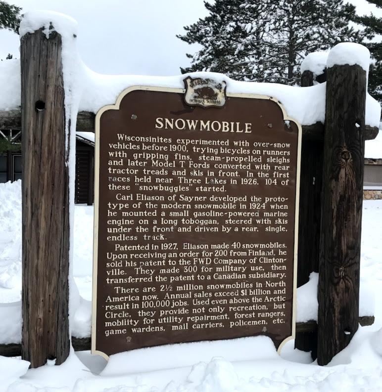 Snowmobile sign in Sayner, Wisconsin