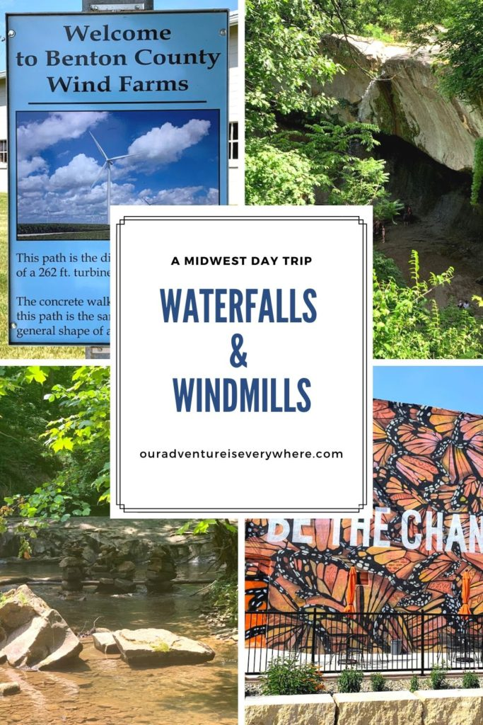 Enjoy a fun filled day of waterfalls, hiking through some beautiful areas and learning a bit more about windmills on this fun day trip to Northwest Indiana. With two beautiful natural settings and so much more, it's a day to remember. #daytrips #waterfalls #exploreMidwest