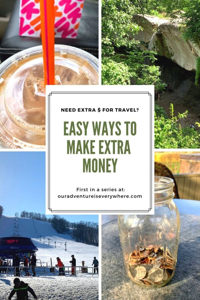 Do you love to travel but are struggling find ways to save money for it? This is the first in a series of easy and effective ways to make extra money on the side. By the end of the series you'll have multiple ways to make or save extra cash! #sidehustle #makemoney #savemoney #travelmore