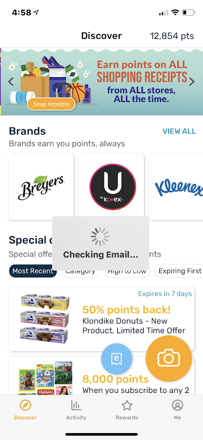 Download your receipts on Fetch to earn points for gift cards