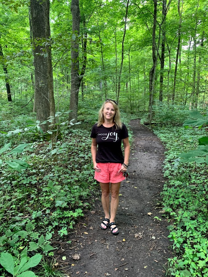 Hiking at Melzer Woods Nature Preserve in Shelby County, Indiana