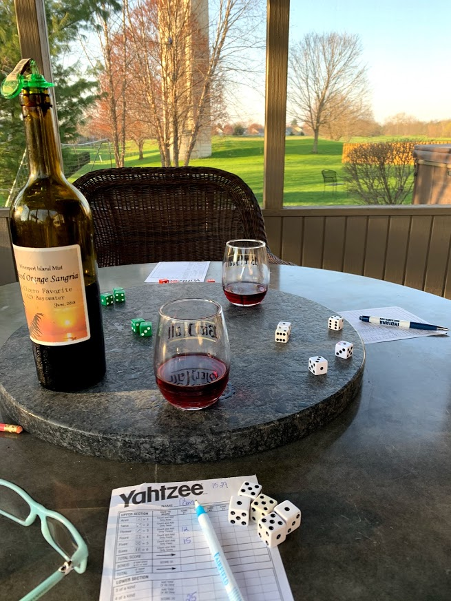 Playing yahtzee for family game night!