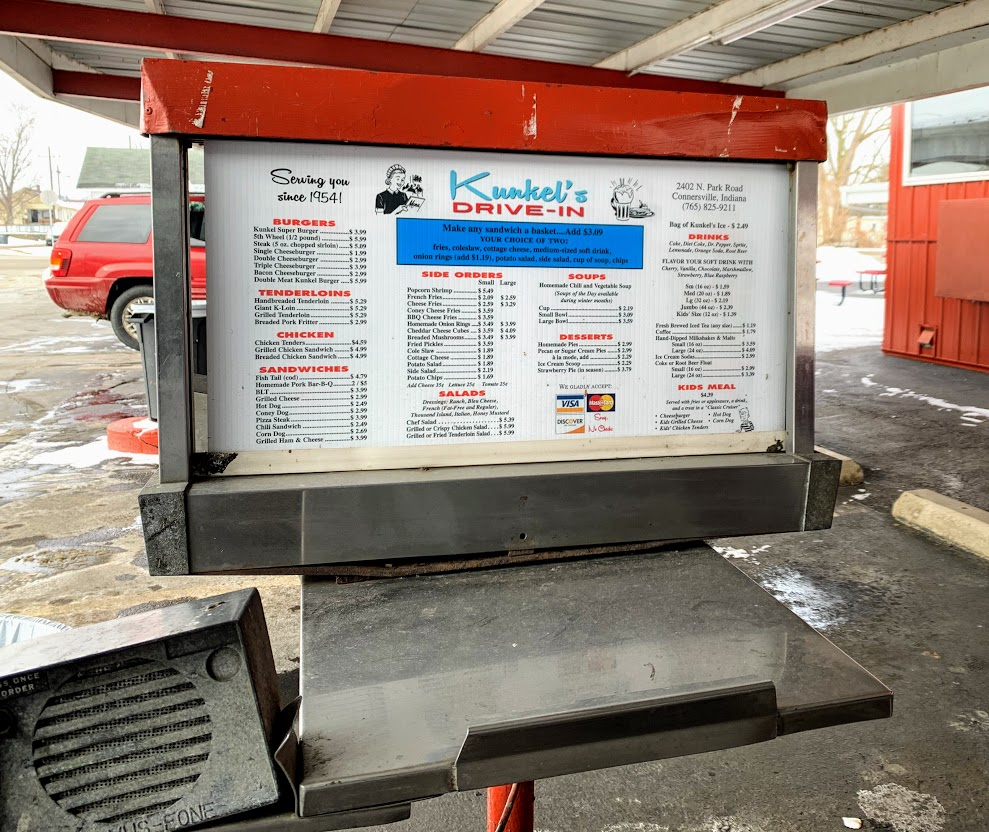 Enjoy an old-fashioned drive-in for lunch in Connersville, Indiana