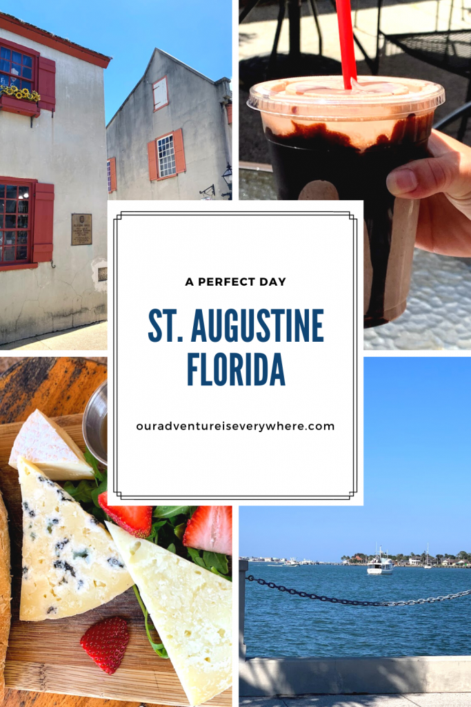 Get ready to enjoy a perfect day exploring the historic downtown area of St. Augustine. With great food, drinks, shopping and a little history, there is something for everyone! #floridatravel #travel #daytrips
