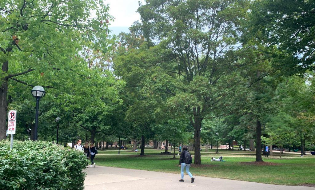 walking around a college campus